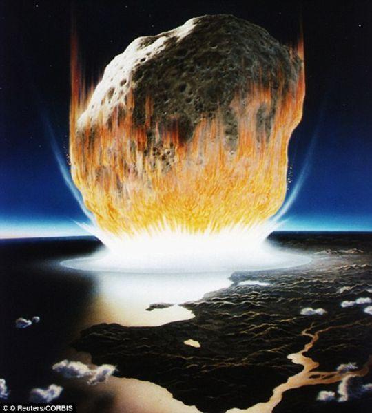 第二次物种灭绝:一位艺术家的构想图展示了这颗直径6英里(约合9.6公里)小行星猛撞到地球上的情景。科学家称,这杀死地面上的大部分生物。