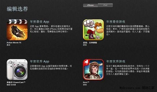 苹果APP Store 2012年度最佳应用出炉