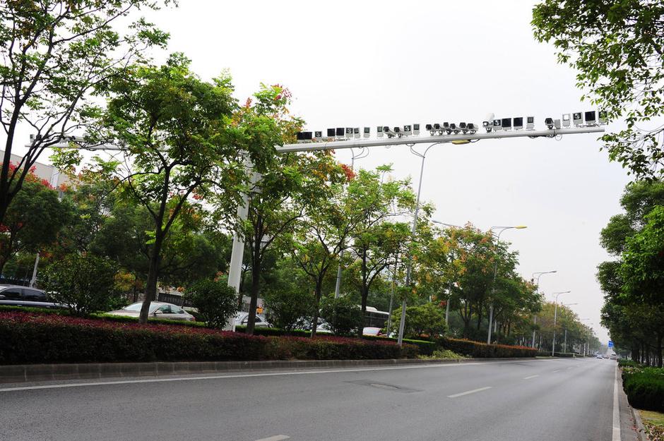上海一马路装50多只探头 惊呆路人